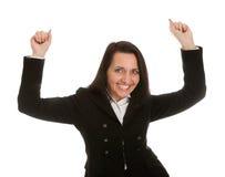 庆祝兴奋成功的女实业家 免版税库存照片