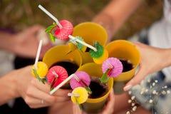 庆祝 拿着杯藤的人们做多士 免版税库存图片