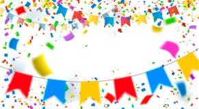 庆祝 明亮的五颜六色的传染媒介五彩纸屑背景 免版税库存图片