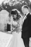 庆祝他们的婚姻的白种人愉快的浪漫年轻夫妇 库存照片