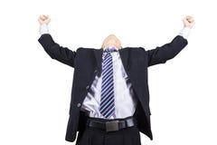 庆祝他的胜利的成功的商人 免版税库存图片