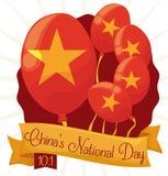 庆祝China&的纪念气球x27; s国庆节,传染媒介例证 免版税库存图片