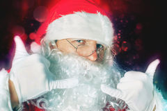 庆祝Cristmas的抽象凉快的圣诞老人在北极 免版税库存图片