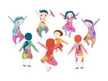 庆祝holi的设置逗人喜爱的儿童字符 皇族释放例证