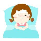 床动画片的小病的女孩 免版税图库摄影