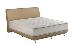 床垫在白色背景被隔绝隔绝的春天床 免版税图库摄影