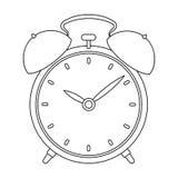 床边在白色背景在概述样式的时钟象隔绝的 睡眠和休息标志股票传染媒介例证 库存照片