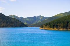 库克海峡放在新西兰的南北海岛之间 免版税库存照片