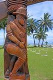 库克群岛RSA纪念品被雕刻的木门户拉罗通加厨师我 免版税图库摄影