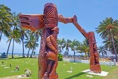 库克群岛RSA纪念品被雕刻的木门户拉罗通加厨师我 免版税库存图片