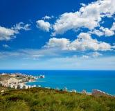 库列拉角有村庄巴伦西亚地平线的海滩天线  库存照片