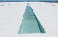 水库在盐湖Uyuni,玻利维亚 免版税库存图片