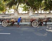 库塔,巴厘岛马推车 免版税库存图片