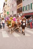 库夫施泰因/奥地利/提洛尔9月19日:有装饰的c的农夫 库存照片
