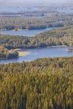 库奥皮奥地区在芬兰 海岛,森林湖 芬兰横向 免版税库存图片