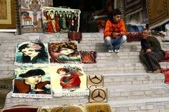 库尔德人地毯的经销商 免版税库存照片