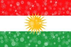 库尔德斯坦拷贝冬天雪花旗子 库存例证