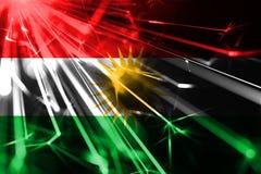 库尔德斯坦拷贝发光的烟花闪耀的旗子 新年2019年和圣诞节未来派发光的党概念旗子 皇族释放例证