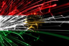 库尔德斯坦拷贝摘要烟花闪耀的旗子 新年、圣诞节和国庆节概念 库存例证