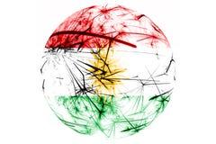 库尔德斯坦拷贝烟花闪耀的旗子球 新年、圣诞节和国庆节装饰品和装饰概念 向量例证