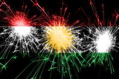 库尔德斯坦拷贝烟花闪耀的旗子 新年、圣诞节和国庆节概念 向量例证