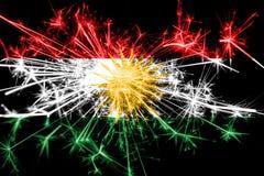 库尔德斯坦拷贝烟花闪耀的旗子 新年2019年和圣诞晚会概念 向量例证