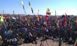 库尔德节日newroz在Qamislo,叙利亚 免版税库存照片
