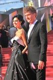 库尔科娃和Bachurin在莫斯科电影节 免版税库存照片