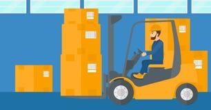 仓库工作者移动的装载用叉架起货车 库存例证