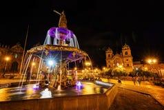库斯科省秘鲁Plaza De阿玛斯 免版税库存图片