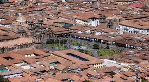 库斯科秘鲁都市风景  在大教堂的看法 免版税库存照片