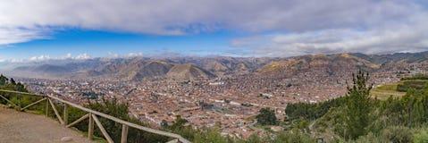 库斯科,从上流的秘鲁全景在土坎 免版税库存图片