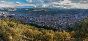 库斯科,库斯科,秘鲁看法从Sacsayhuaman的 库存照片