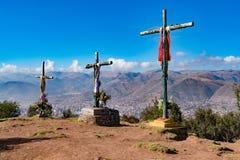 库斯科,秘鲁三个十字架  库存照片