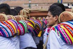 库斯科-秘鲁- 2016年6月06日:未知的秘鲁人parti 免版税库存照片