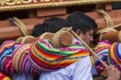 库斯科-秘鲁- 2016年6月06日:未知的秘鲁人parti 免版税图库摄影