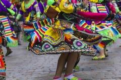 库斯科-秘鲁- 2016年6月06日:游行的秘鲁舞蹈家 免版税图库摄影