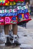 库斯科-秘鲁- 2016年6月06日:游行的秘鲁舞蹈家 免版税库存图片