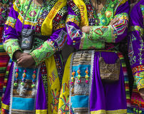 库斯科-秘鲁- 2016年6月06日:游行的秘鲁舞蹈家 库存照片