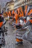 库斯科-秘鲁- 2016年6月06日:游行的秘鲁舞蹈家 库存图片