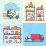 仓库机架棚架装载者箱子装货搬运车集合 库存例证