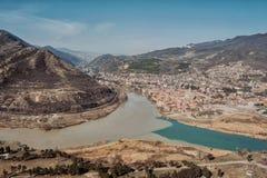库纳河和Aragvi,乔治亚 免版税库存图片
