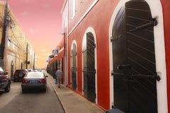 仓库街道在St.Tomas海岛 免版税库存照片