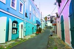 仓库街道在St.Tomas海岛 免版税库存图片