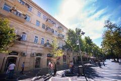 巴库,阿塞拜疆,中心街道 免版税库存图片