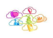 应用云彩移动电话技术 库存图片