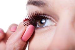 应用假睫毛的妇女 免版税库存照片