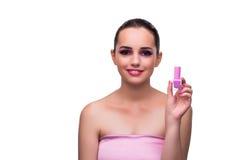 应用唇膏的妇女隔绝在白色 免版税库存图片
