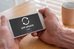 应用在智能手机的更新概念 库存照片