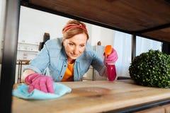 应用在木架子的快乐的勤勉夫人清洗的浪花 免版税图库摄影